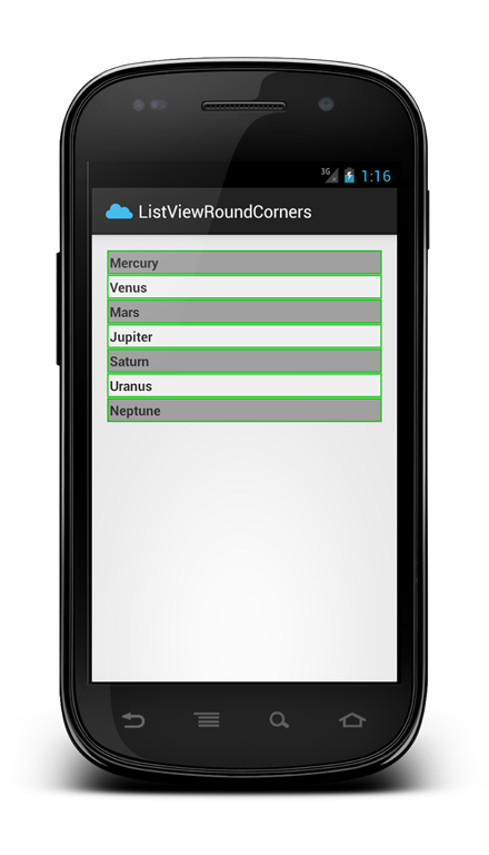 Android listview background row style: Rounded Corner