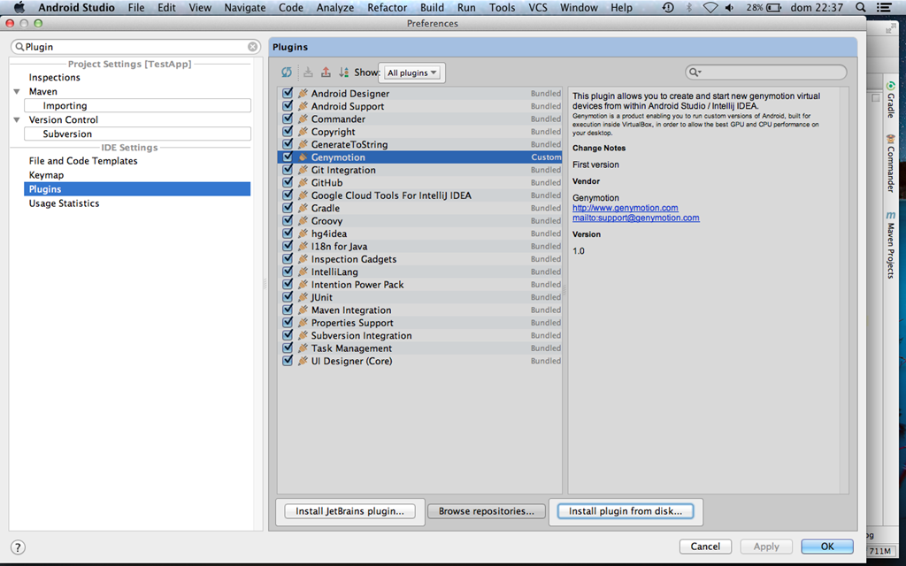 Android Studio with android alternative emulator:Genymotion ...
