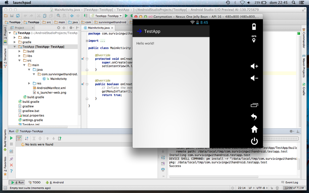 Android Studio with android alternative emulator:Genymotion