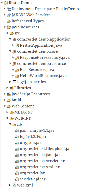 Hello World Example. Project Structure. Selection_021. RestletApplication. Java