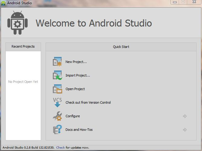 Installing Android Studio and creating a new Android project