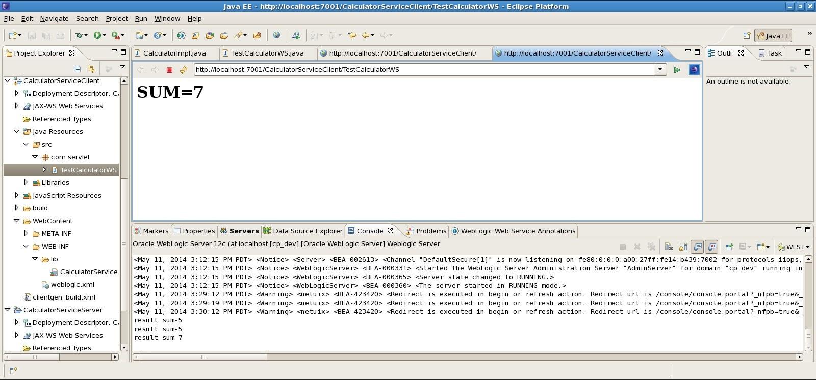 TestCalculatorWS servlet Output