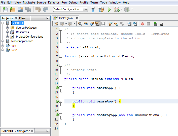 How to create MIDlet in J2ME