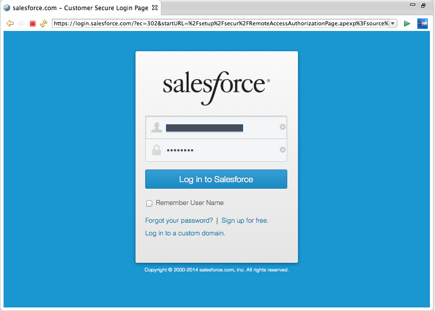 Figure 5: Salesforce.com Login Screen for OAuth