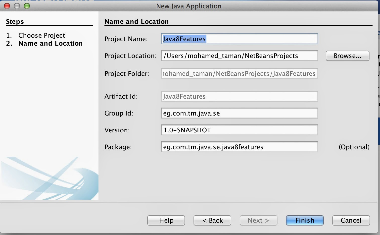 Java se 8 new features tour the big change in java development world follow the following screen shoot variables definition or change to your favorite names and values then click finish baditri Images