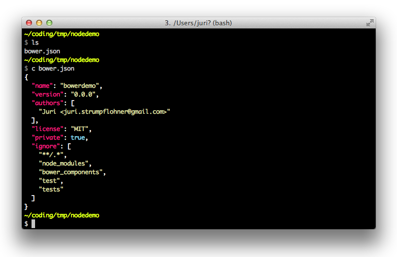 Example of a bower.json file