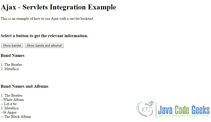 jQuery Ajax - Servlets Integration: Building a complete