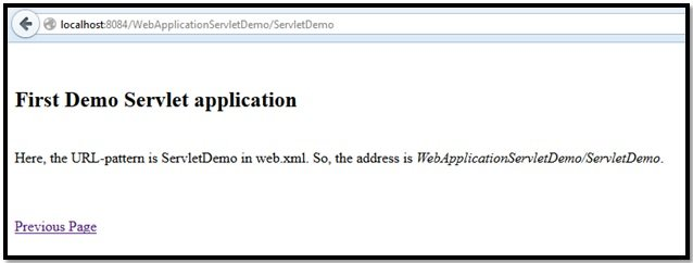 Figure 10: Output showing redirection to ServletDemo.java