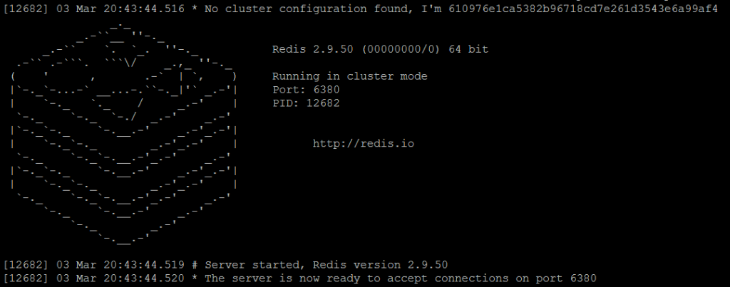 Picture 2. Redis master1 node is running in cluster mode.