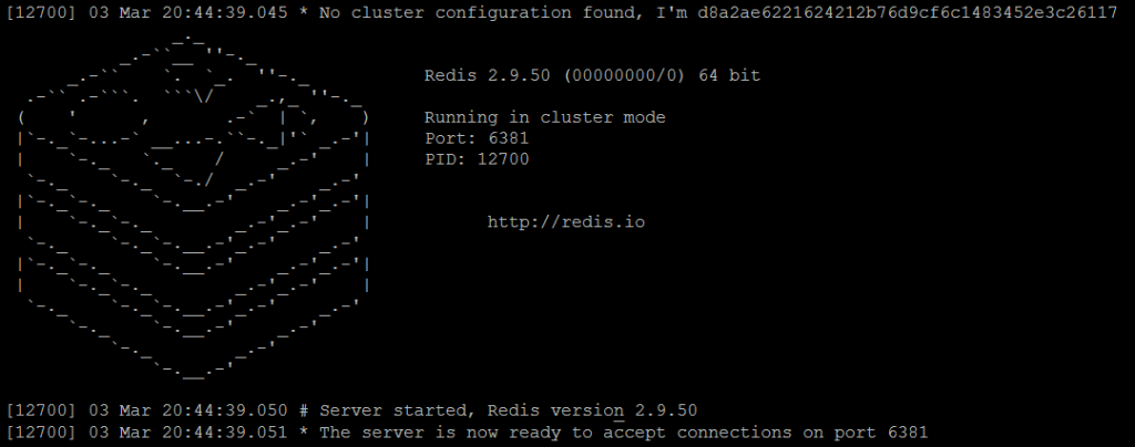 Picture 4. Redis master3 node is running in cluster mode.