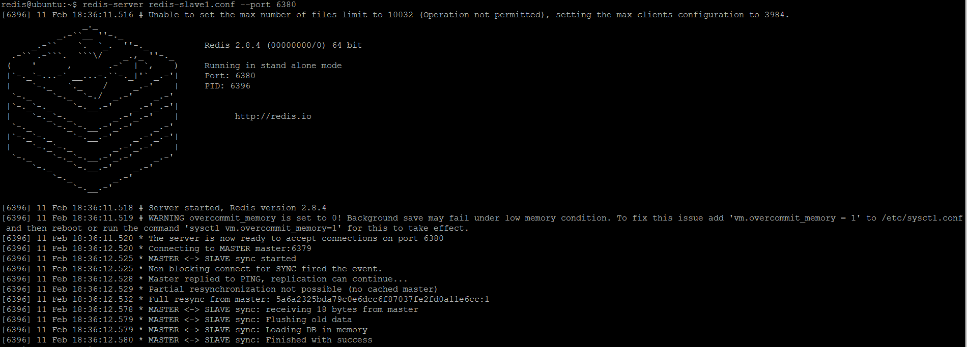 Figure 3. Redis slave (replica) 1 is started (by default in read-only mode) and immediately synchronizes with master