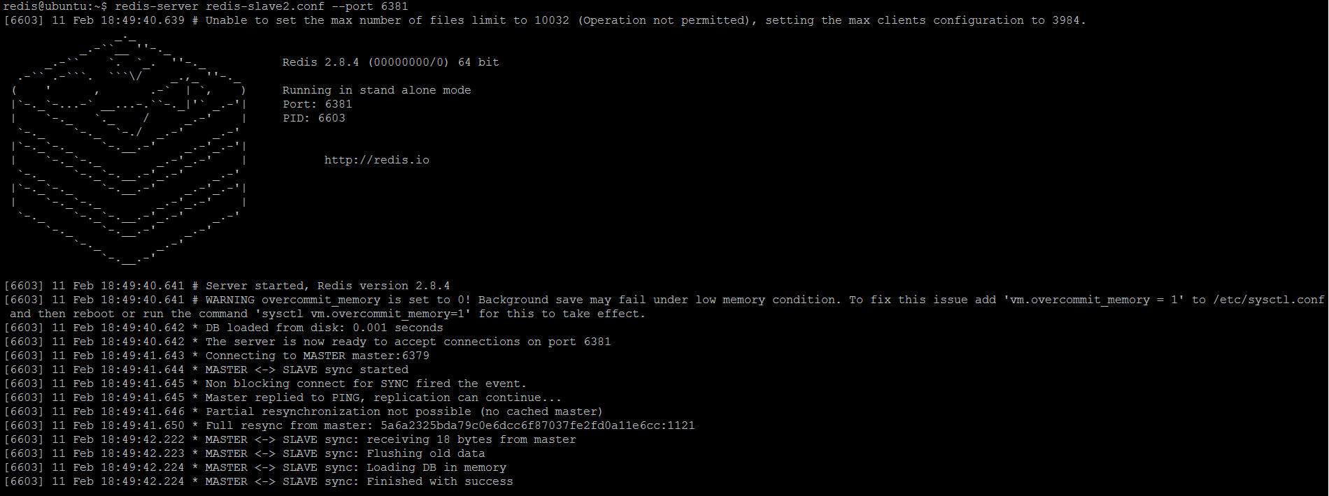 Figure 4. Redis slave (replica) 2 is started (read-write mode) and immediately synchronizes with master