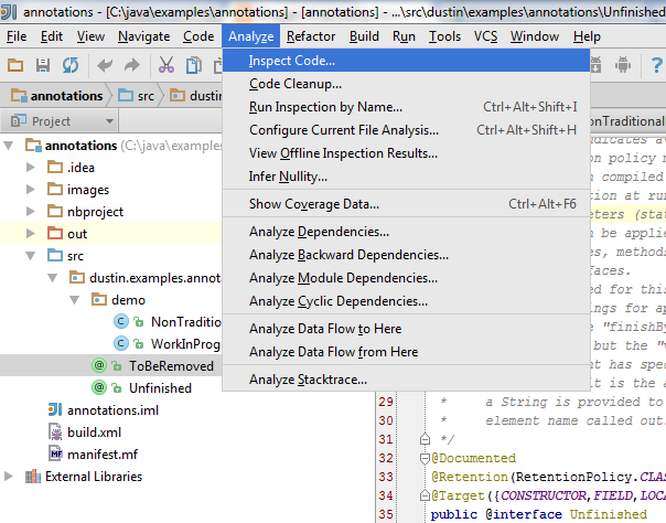 Applying IDE Inspections to Custom Java Annotations   Java Code