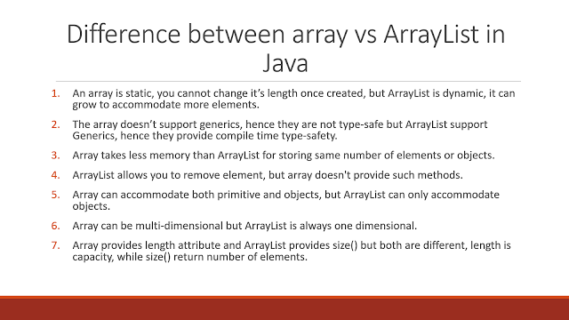 9 differences between Array and ArrayList in Java | Java