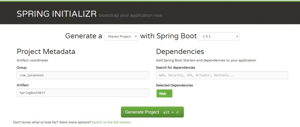 Creating rest services in spring boot