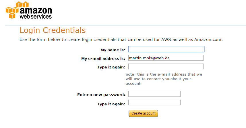 Amazon S3 login credentials