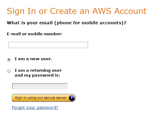 Amazon S3 sign in