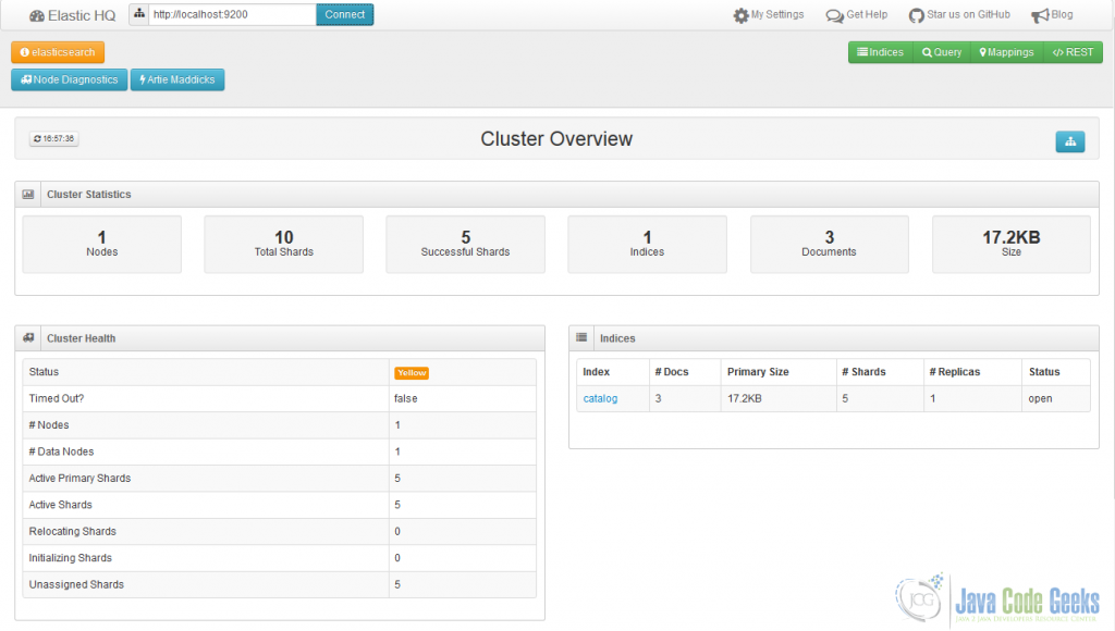 An example of elasticsearch-HQ showing catalog index and cluster status