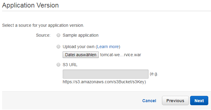 Amazon Elastic Beanstalk application version