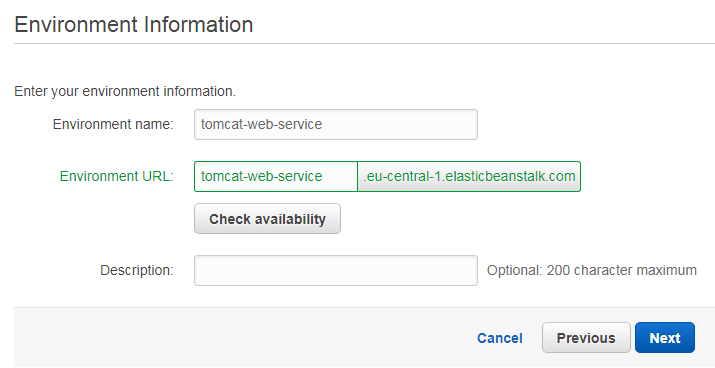 Amazon Elastic Beanstalk environment information