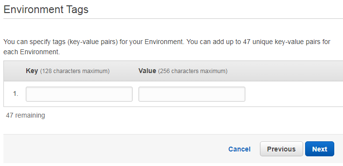Amazon Elastic Beanstalk environment tags