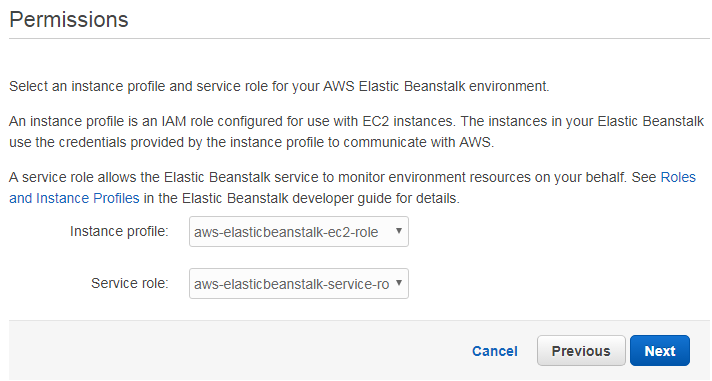 Amazon Elastic Beanstalk permissions
