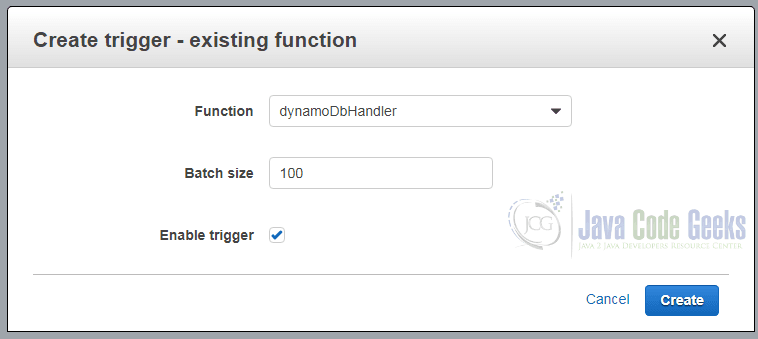 Amazon Lambda dynamoDbCreateTrigger2