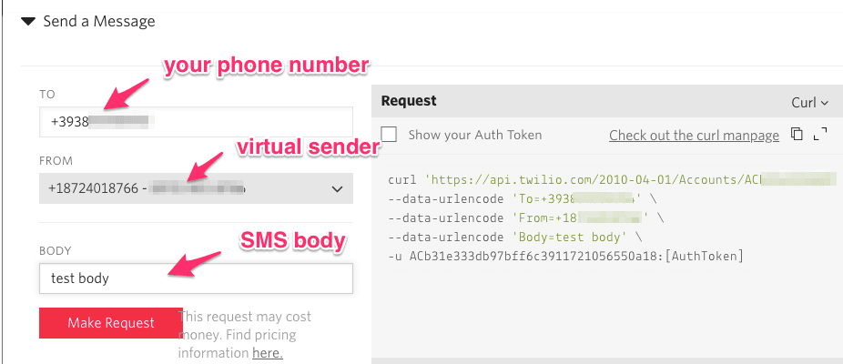 sms notification system twilio api console