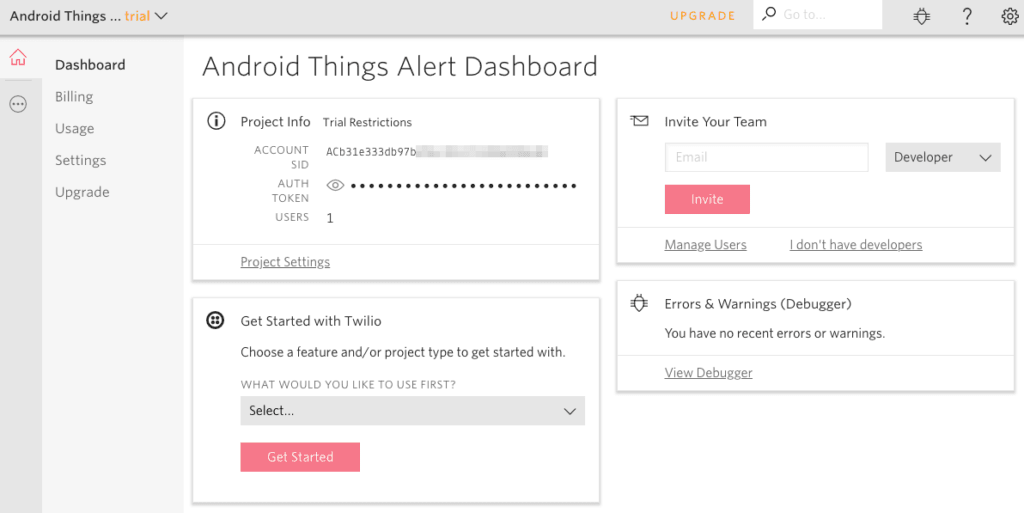 SMS notification system twilio dashboard