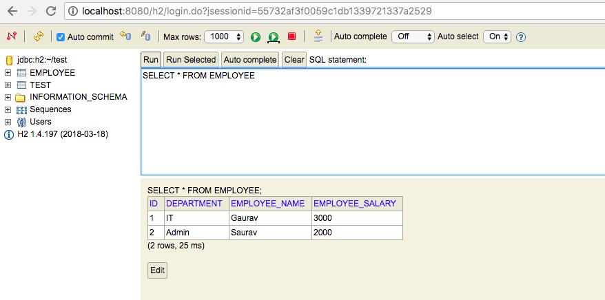 Restful API using Spring Rest & Spring Data JPA & H2 with Spring