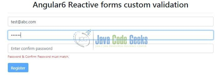 Angular 6 Reactive Forms Validation Example | Java Code