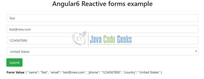 Angular 6 Reactive Form Example | Java Code Geeks - 2019