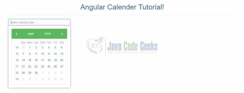 Angular Calendar Integration Example | Java Code Geeks - 2019